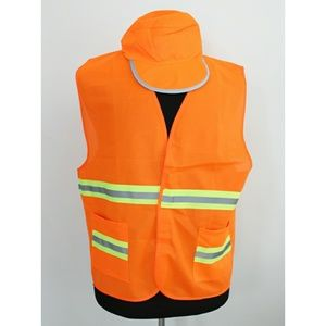 Construction Worker Vest and Hat Orange Reflective
